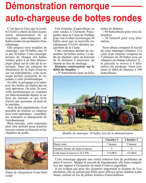 Article: Remorque autochargeuse de balles rondes CGAO