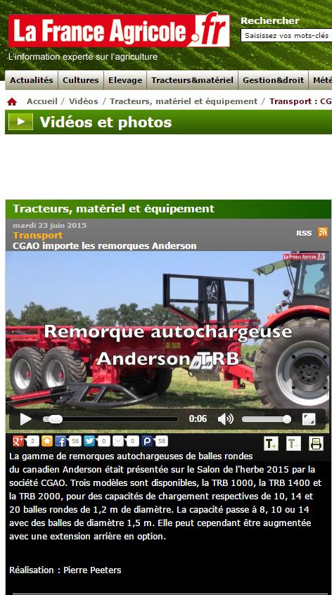 La France Agricole: Remorque autochargeuse de balles rondes CGAO